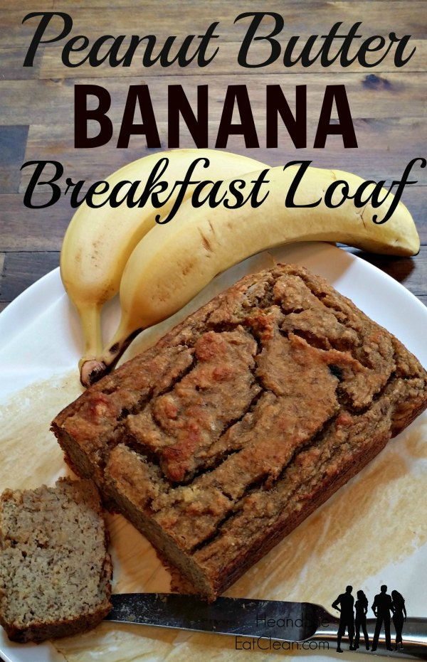 banana bread breakfast loaf on a white plate with a banana on a wooden table with text that reads Peanut Butter Banana Breakfast Loaf