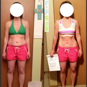 before and after of female weight loss. first picture with green sports bra and pink shorts, after with multi sports bra and pink shorts