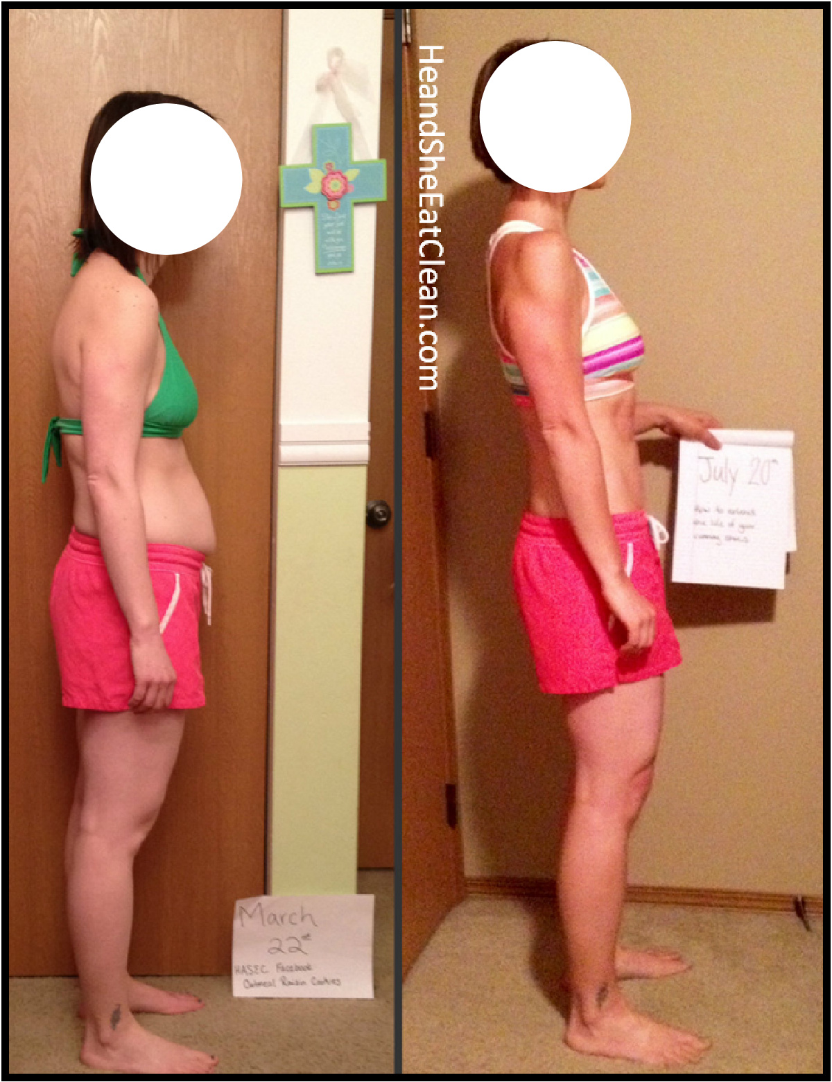 side view of before and after of female weight loss. first picture with green sports bra and pink shorts, after with multi sports bra and pink shorts