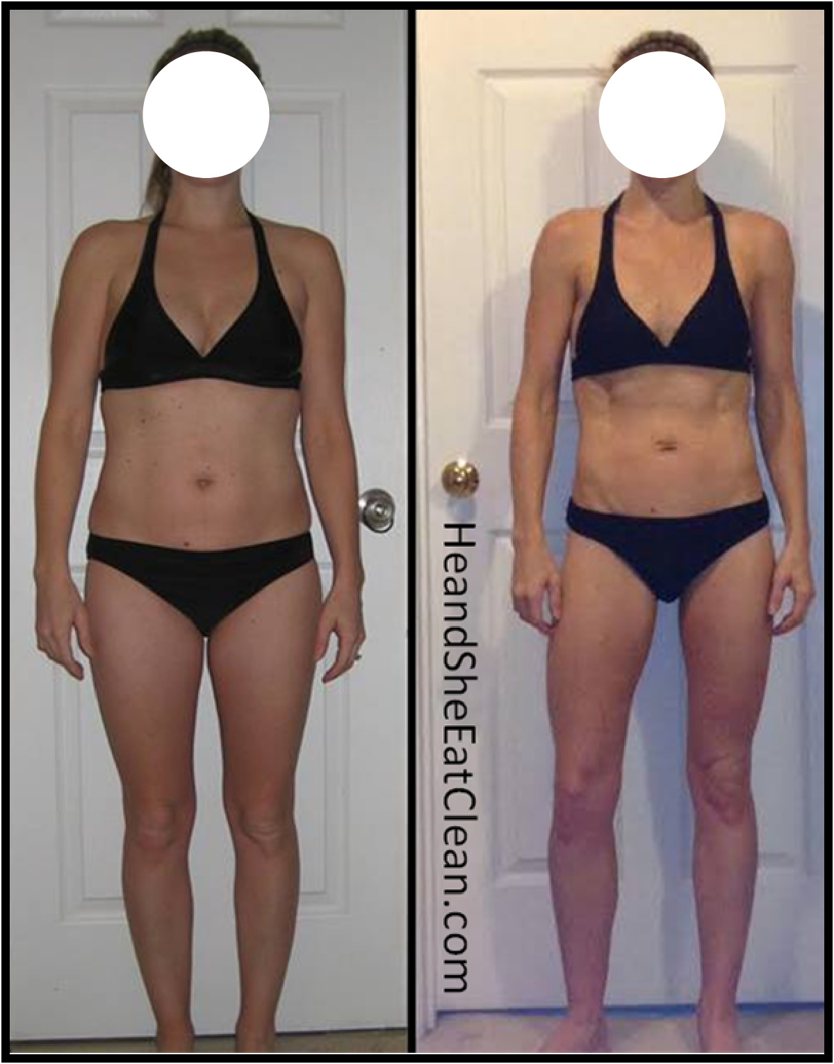 before and after of a female weight loss in a black bikini