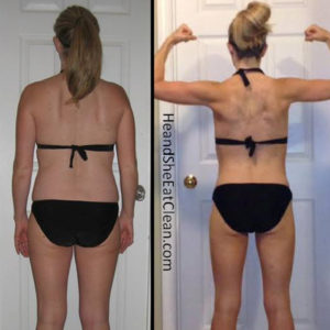 before and after of a female weight loss in a black bikini - flexing