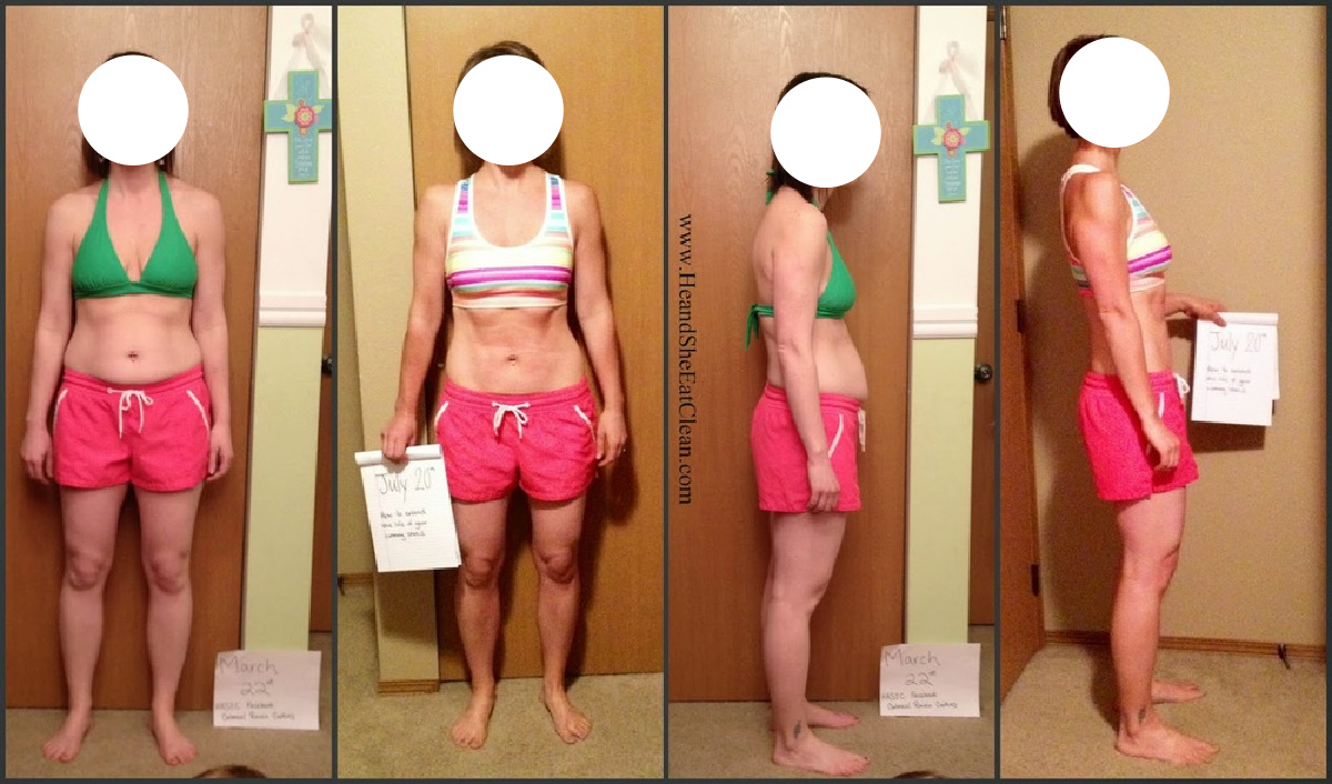 collage of 4 before and after pictures of a female weight loss progression
