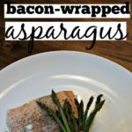 white plate with salmon and bacon wrapped asparagus square image