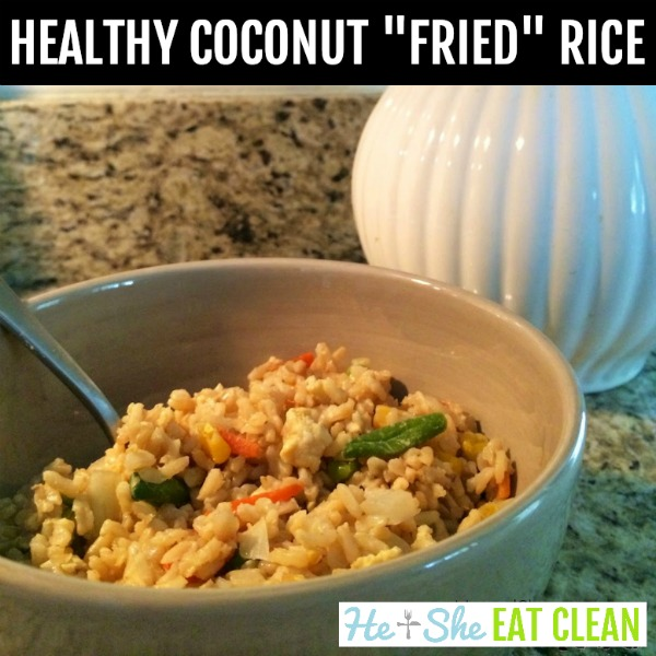 bowl of coconut fried rice in a tan bowl