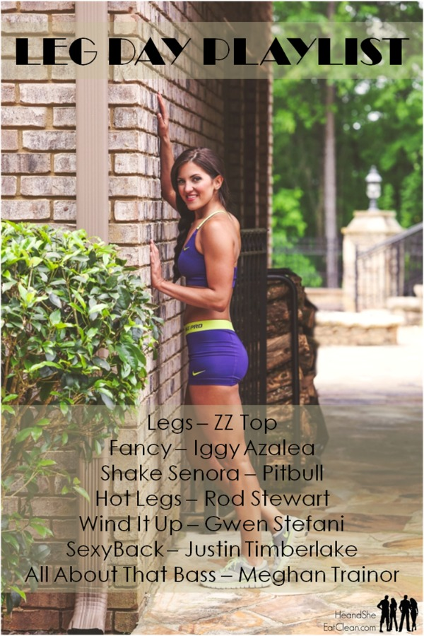 female next to a brick wall with leg day workout playlist listed