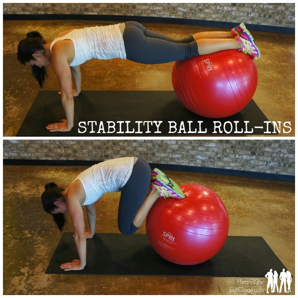 female in a gym with text that reads stability ball ab roll-ins