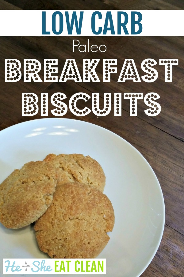 biscuits stacked on a white plate with text that reads low carb, paleo breakfast biscuits