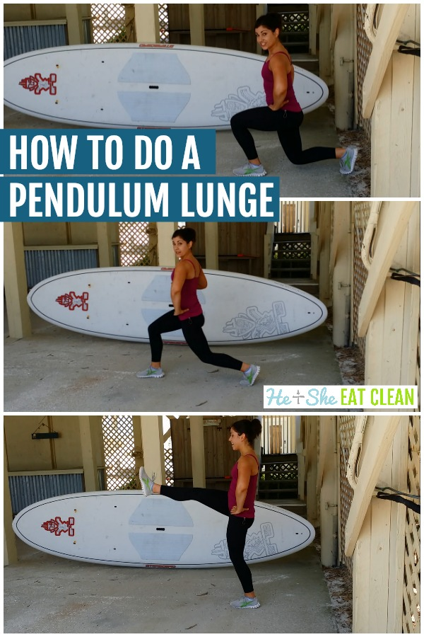 photo collage of female doing a pendulum lunge vertical