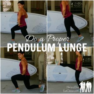 photo collage of female doing a pendulum lunge