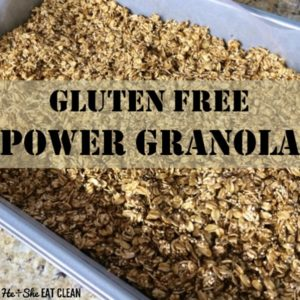 gluten free power granola in a silver pan on a granite countertop