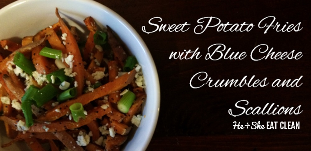 sweet potato fries with blue cheese and scallions in a white bowl