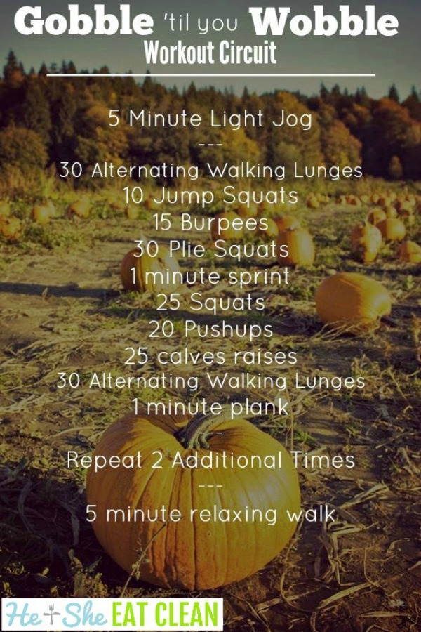 text reads Gobble 'til you Wobble Workout Circuit with workout listed