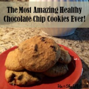 cookies on a red plate with text that reads the most amazing chocolate chip cookies ever square image