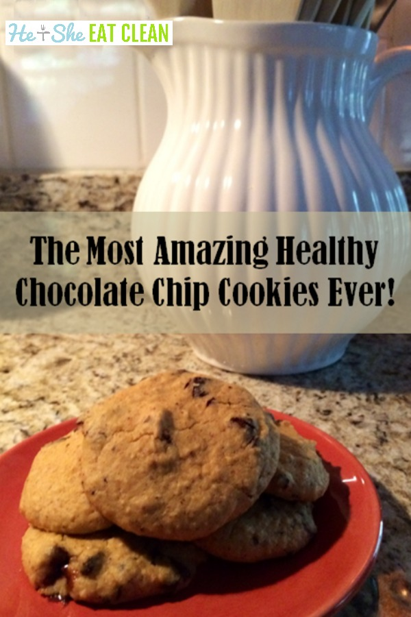 cookies on a red plate with text that reads the most amazing chocolate chip cookies ever