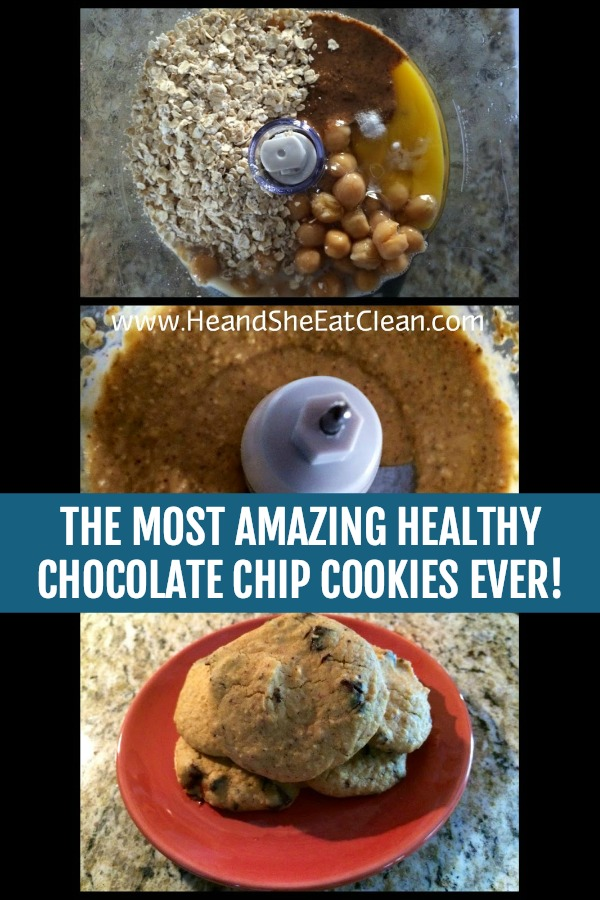 collage of cookie ingredients in a food processor with text that reads the most amazing chocolate chip cookies ever