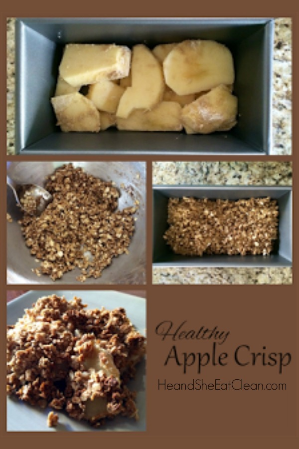 collage of healthy apple crisp photos