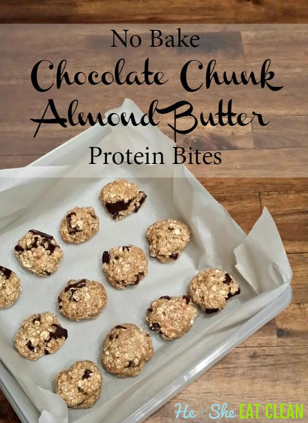 chocolate chunk bites on a pan lined with parchment paper with text that reads no bake chocolate chunk almond butter protein bites