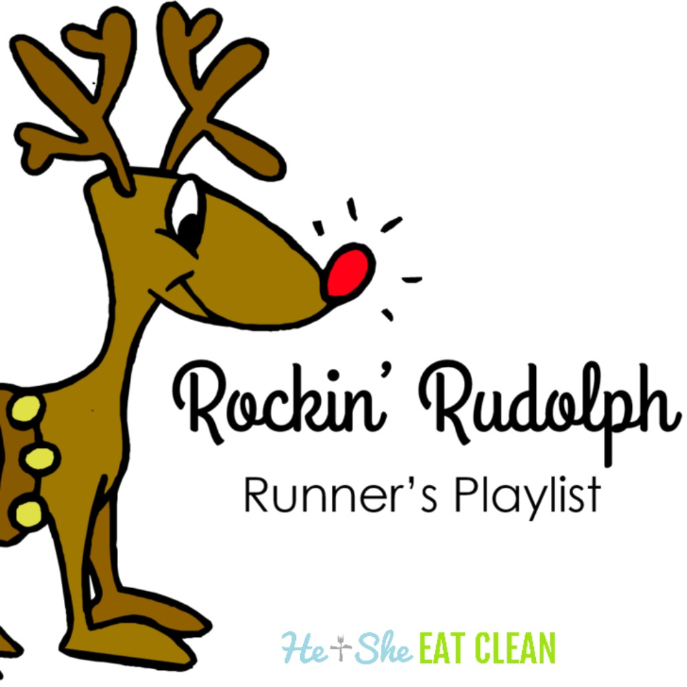 rockin ruldolph runner's playlist with cartoon reindeer