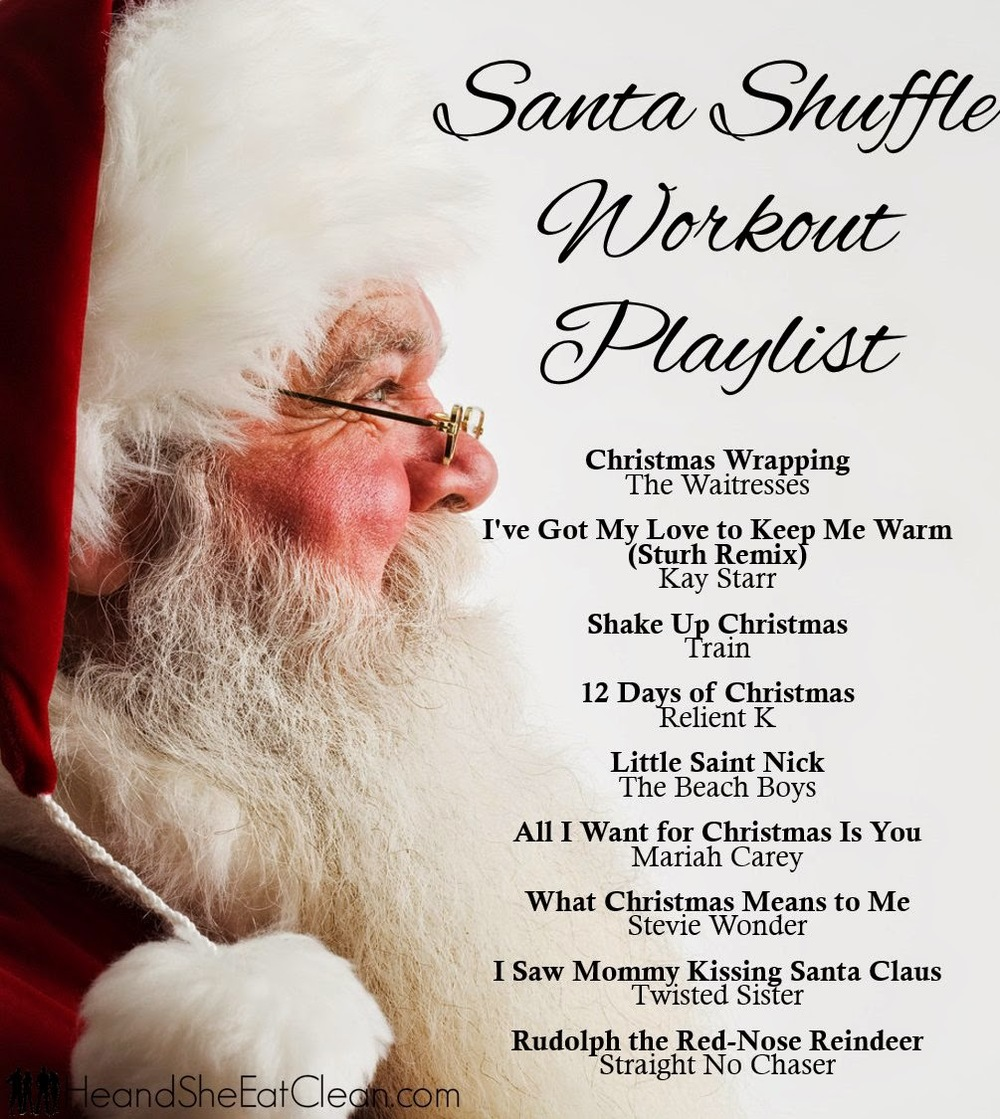 side view of santa with text that reads santa shuffle workout playlist, playlist included
