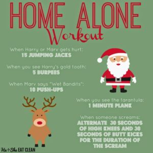 text reads Home Alone Workout green background