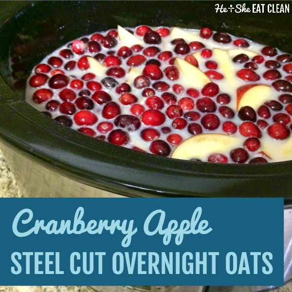 bowl of oats with cranberries and apples on top with text that reads cranberry apple steel cut overnight oats square image