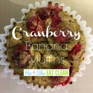one cranberry banana muffin in a white paper muffin cup