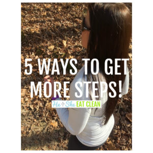 female running wearing a white long sleeve shirt. text reads 5 Ways to Get More Steps