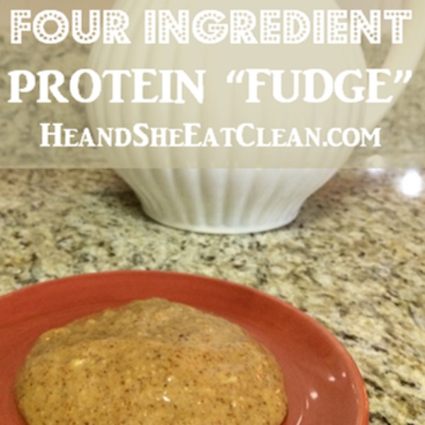 peanut butter fudge with text that reads four ingredient protein fudge
