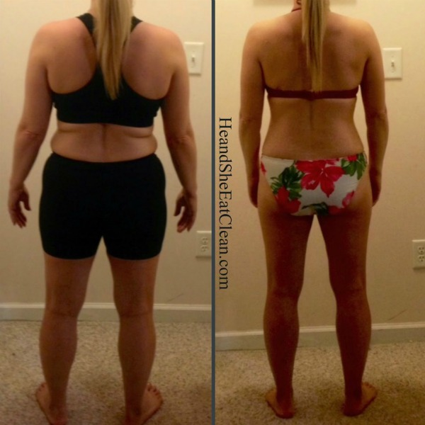 rear facing female in side by side collage showing transformation from Run Builder Workout Plan