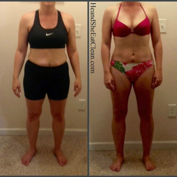 front facing female in side by side collage showing transformation from Run Builder Workout Plan