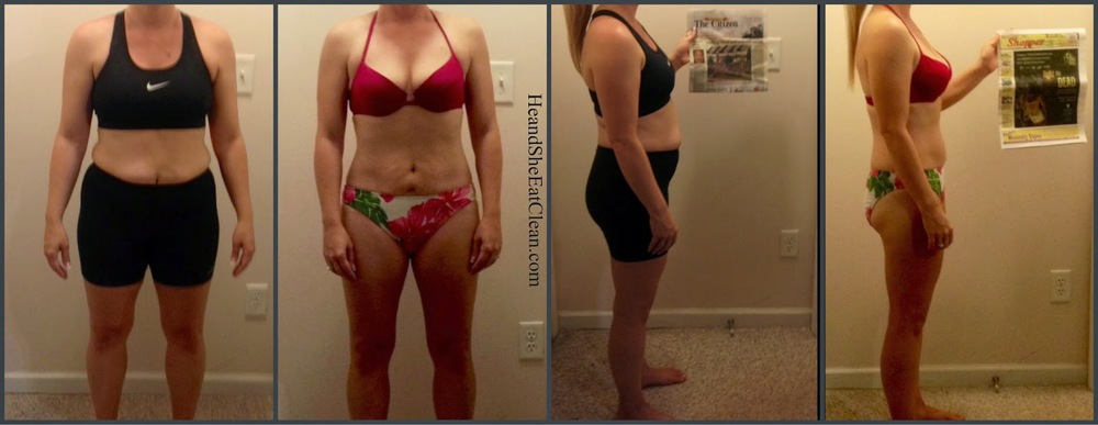 collage of transformation pictures of female who did the Run Builder Workout Plan