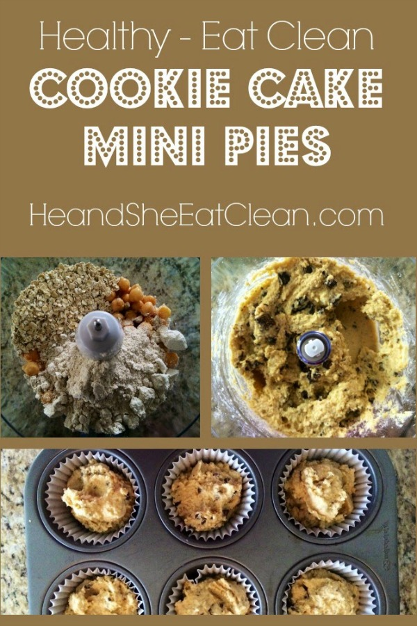 collage of how to make cookie cake mini pies