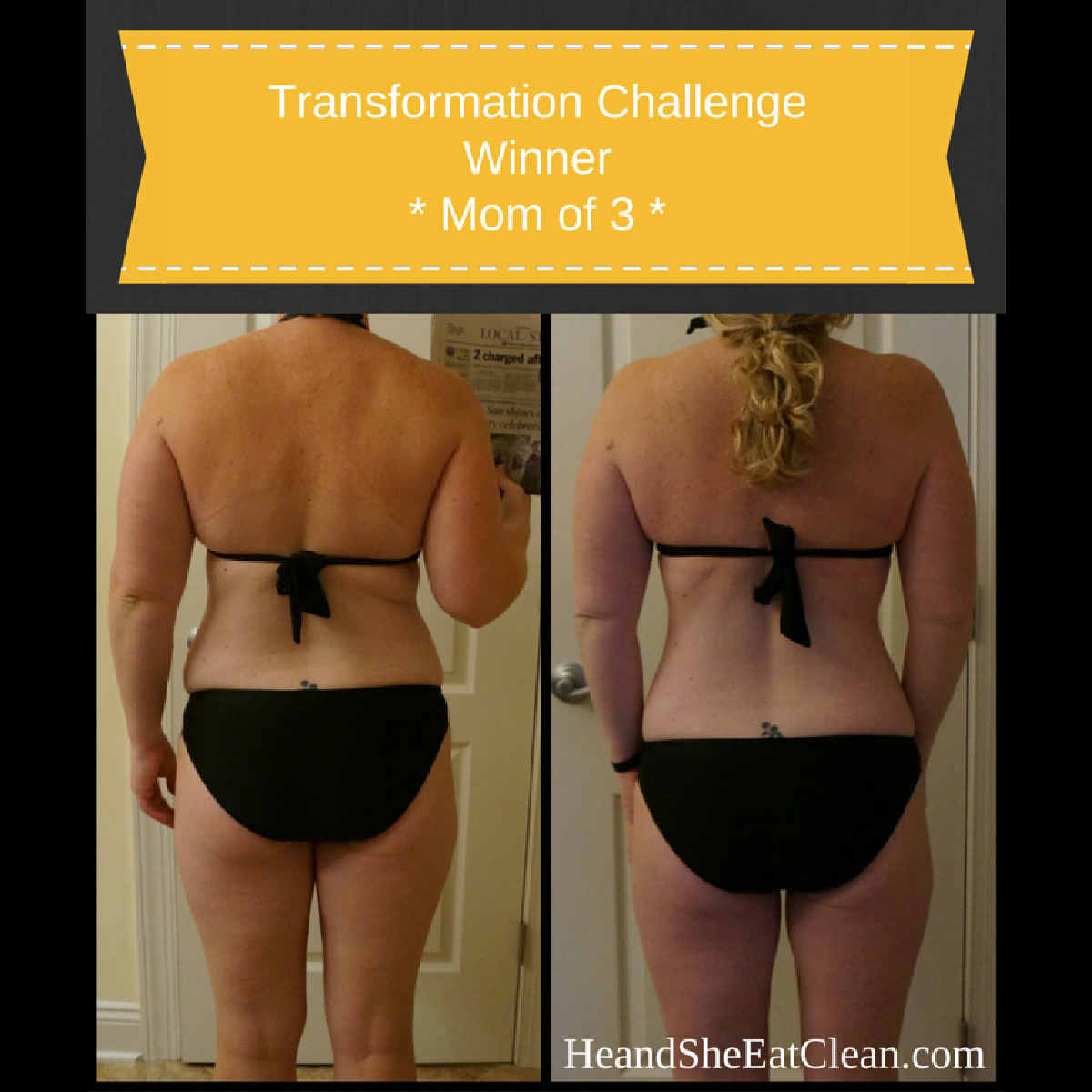 before and after back image of a female in a black swimsuit to show weight loss