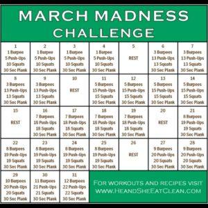 March Madness Fitness Calendar