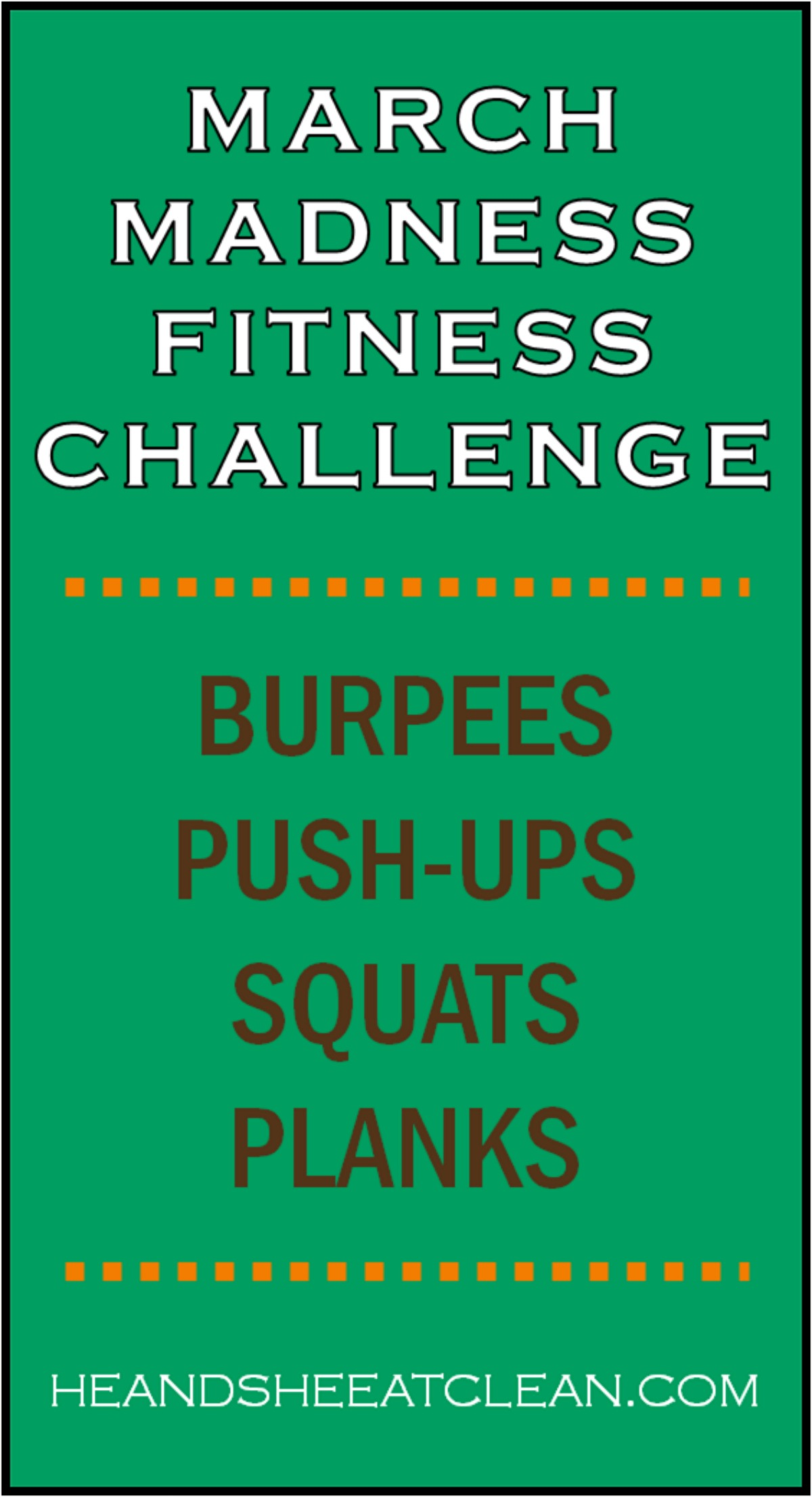 March Madness Fitness Challenge with listed exercises