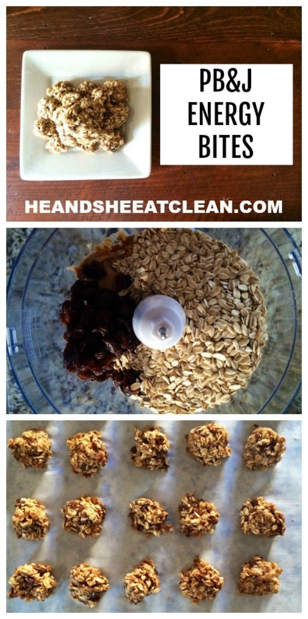 collage of energy bites, oats in a blender, and bites on a cookie sheet