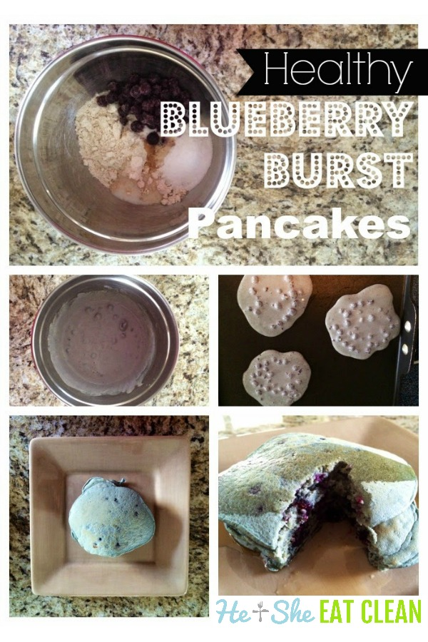 blueberry pancakes on a beige plate collage of cooking steps