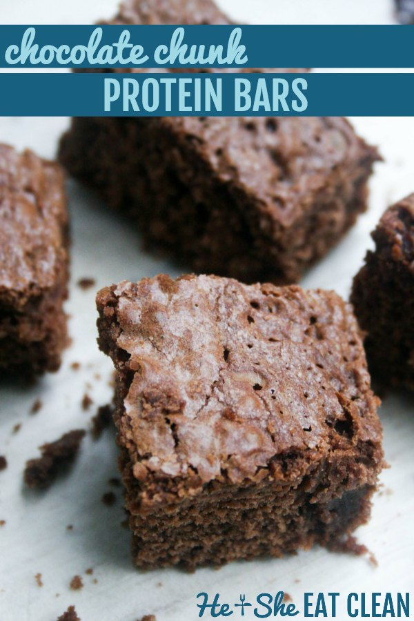 chocolate protein bars cut into squares with text that reads chocolate chunk protein bars