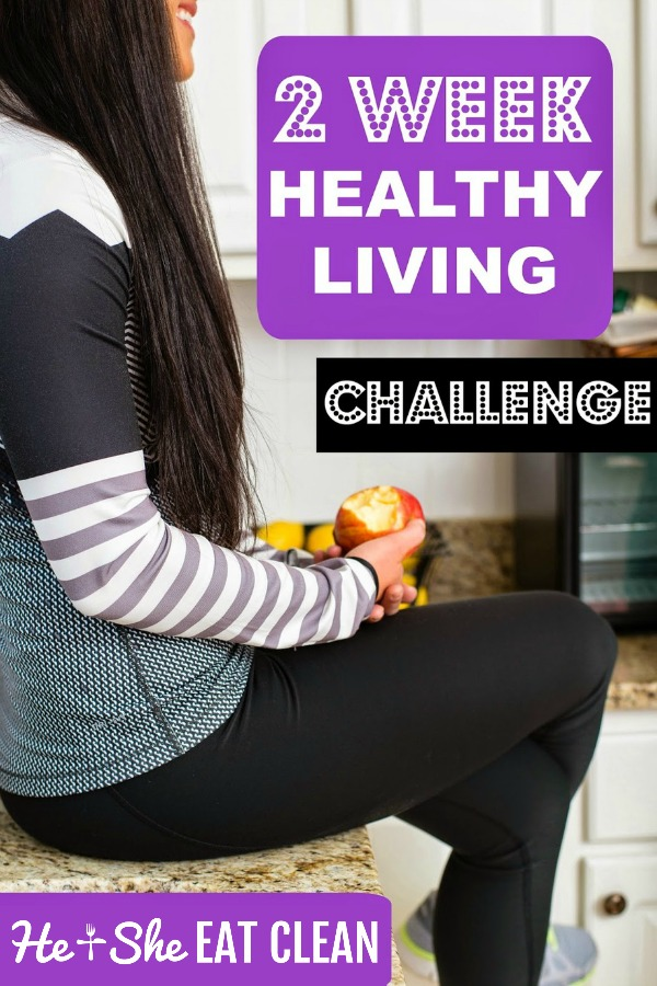 female sitting on the counter eating an apple text reads free healthy living challenge