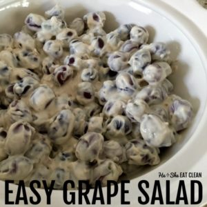 bowl of grape salad in a white bowl
