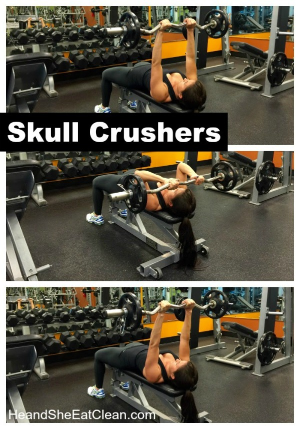 photo collage woman lying on a bench doing a skull crushers exercise