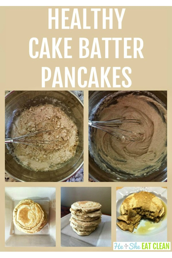 collage of making pancakes - picture of batter and finished pancakes stacked