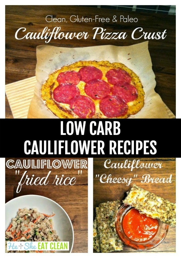 collage of low carb cauliflower recipes