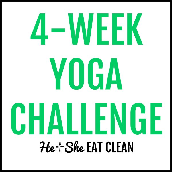 text reads 4-week yoga challenge square image