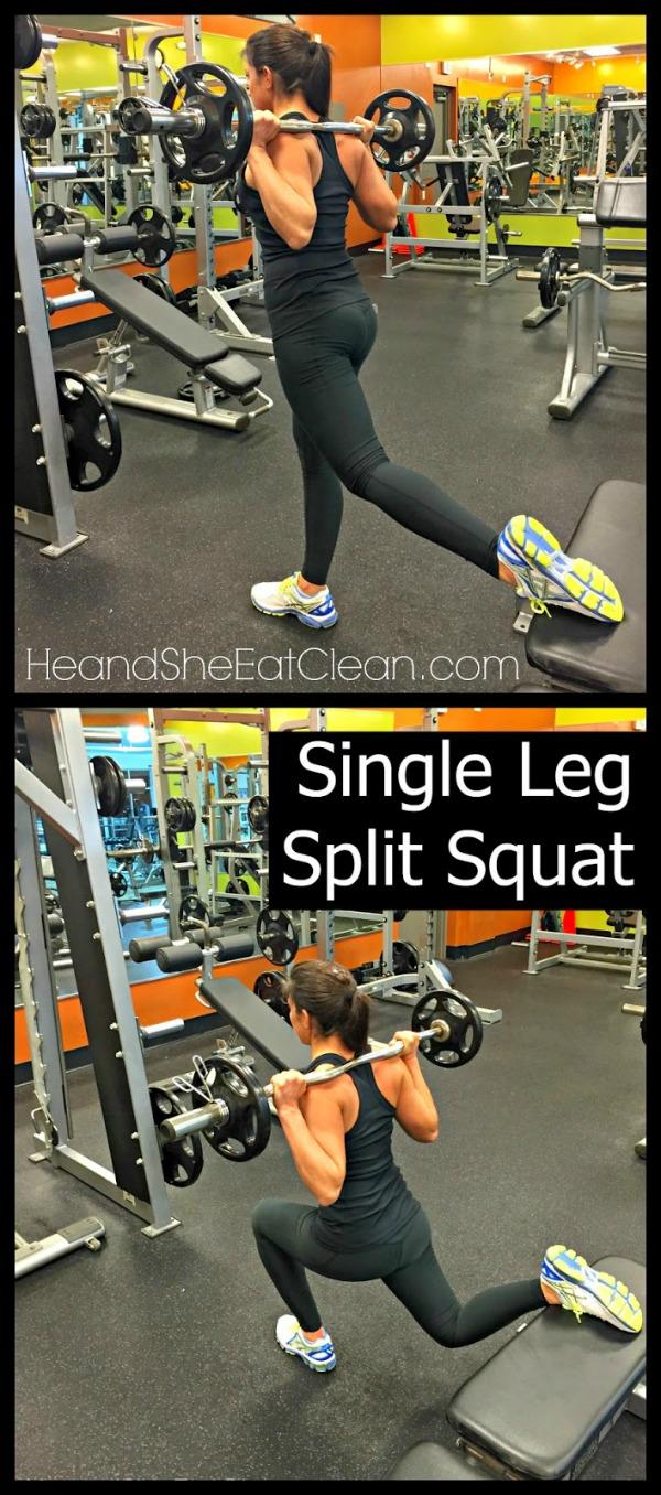 collage of woman doing a single leg split squat