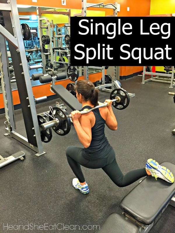 woman doing a single leg split squat in the squat position