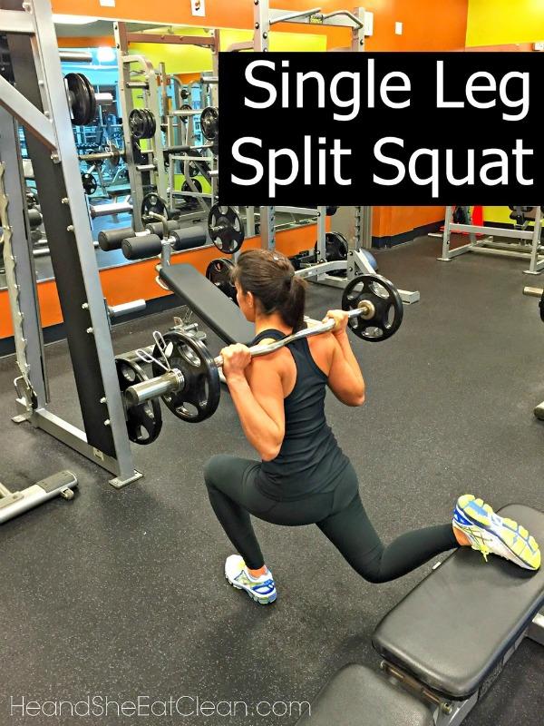 woman doing a single leg split squat in the squat position