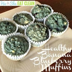 plate of healthy banana blueberry muffins