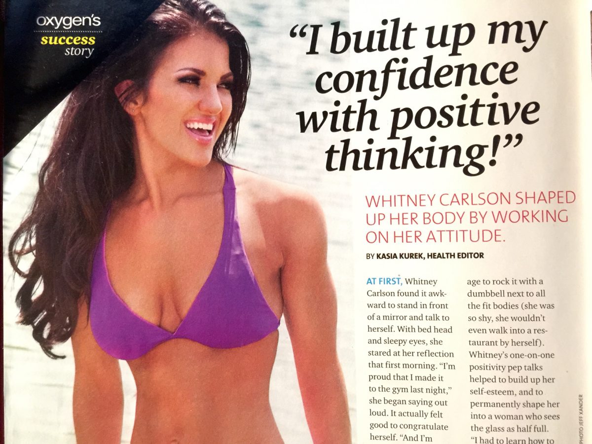 """magazine article picture of female in a purple swimsuit top taken from a magazine. large text reads """"I built up my confidence with positive thinking!"""""""