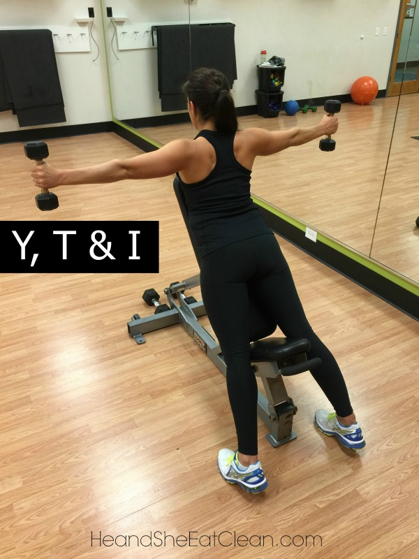 """female doing Y, T & I Shoulder Exercise in a gym - the """"T"""" portion"""